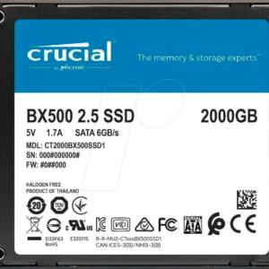 DISCO DURO SOLIDO CRUCIAL BX500 2TB SSD 2.5¨ 3D NAND SATA 3